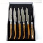 Arbalète Genès David - Estuche 6 cuchillos mesa de madera de olivo