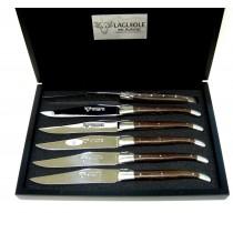 Laguiole Aubrac - Estuche 6 Cuchillos mesa de madera Wengue