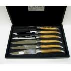 Laguiole en Aubrac - Estuche 6 Cuchillos mesa de madera Olivo