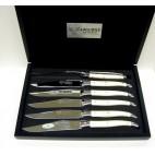 Laguiole en Aubrac- Estuche 6 cuchillos de mesa de hueso