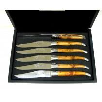Laguiole en Aubrac - Estuche 6 Cuchillos mesa de madera de enebro